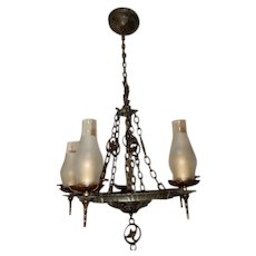 Cast Iron Spanish Revival Arts & Crafts Chandelier Hammered Fixture
