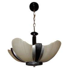 Streamlined Art Deco 5 - Light Slip Shade Chandelier Fixture Machine Age