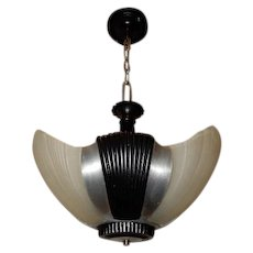 Streamlined Art Deco 3 - Light Slip Shade Chandelier Fixture Machine Age