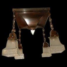 Arts & Crafts Mission Brass Pendant Fixture w Old Greek Key Shades