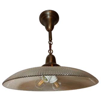Ca. 1915 LARGE Industrial Fixture Brass Pendant Holophane Glass Shade