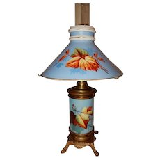 Eastlake Kerosene Oil Parlor Table Lamp w/ Floral Matching Shade & Base