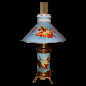 Eastlake Kerosene Oil Parlor Table Lamp w/ Floral Matching Shade & Base