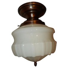 Large Art Deco Milk Glass Shade on Brass Flush Mount Fixture