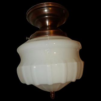 Large Art Deco Milk Glass Shade on Brass Flush Mount Fixture
