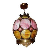 Spanish Revival Arts & Crafts Leaded Slag Glass Hanging Chandelier Fixture