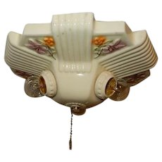 Art Deco 3-Light Porcelain Chandelier Fixture with Floral Pattern---On Hold
