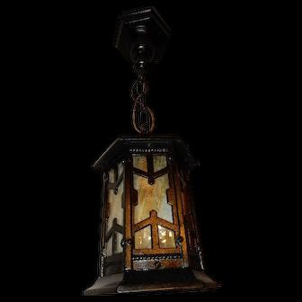 Large Arts & Crafts Cast Iron Porch Light Pendant with Carmel Slag Glass