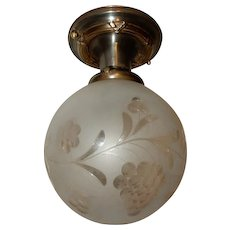 Wheel Cut Floral & Grape Shade on Brass Flush Mount Ceiling Light Fixture