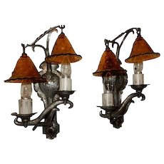 Pair Cast Metal Gothic Arts & Crafts Storybook 2 Light Sconces Patina Finish
