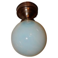 Arts & Crafts Brass Flush Mount Light w Opalescent Art Glass Shade