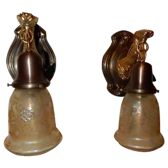 Art Nouveau Brass Sconces w Amber Iridescent Acid Etched Shades
