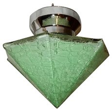 Art Deco Green Crackle Glass Pyramid Shade on Nickel Chrome Fixture