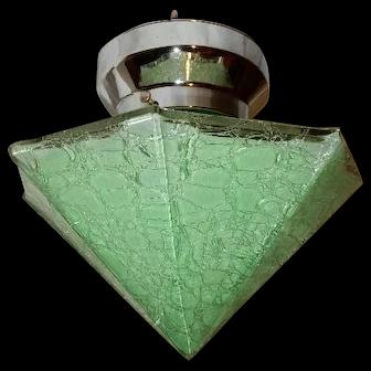 Art Deco Green Crackle Glass Pyramid Shade on Nickel Chrome Fixture