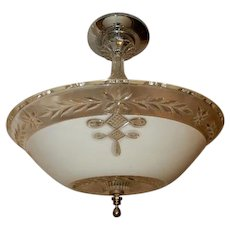 Art Deco Pendant Ceiling Fixture w Original Tan & Crystal Wreath Shade