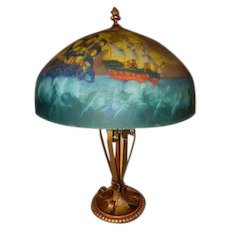 Reverse Painted Scenic Pirate Ships Spanish Revival Tudor Table Lamp