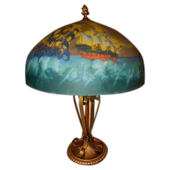 Reverse Painted Scenic Pirate Ships Spanish Revival Tudor Table Lamp