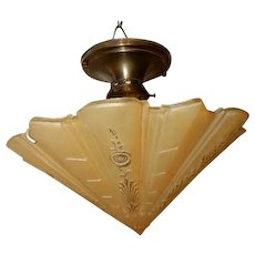 Consolidated Glass Art Deco Amber Shade w/ Brass Ceiling Fixture