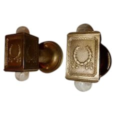 Pr. Railroad Pullman Cast Bronze Wall Mount Sconces