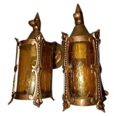 Pr. Cast Bronze Arts and Crafts Spanish Revival Porch Lights With Original Finish