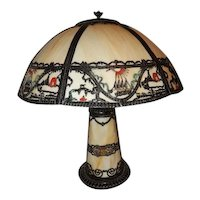Old Art Nouveau Slag Glass Panel Scenic Table  Lamp Original