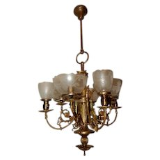 Large Brass Gas Electric Combination Chandelier Fixture Acid Etched Shades