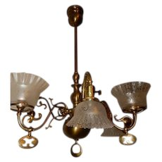 rt Nouveau Brass Gas Electric Combination Chandelier Fixture Acid Etched Shades