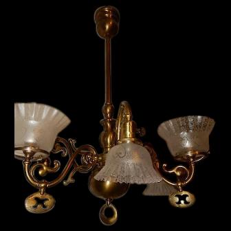 rt Nouveau Brass Gas Electric Combination Chandelier Fixture Acid Etched Shades