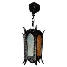 Large Arts & Crafts Cast Iron Porch Light Pendant w/ Carmel Slag Glass--6 Avail.