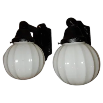 Pr. Cast Iron Arts & Crafts Porch Lights w/ Milk Glass Shades