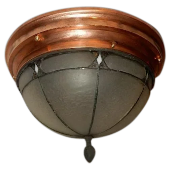 Leaded & Copper Foiled Arts & Crafts Ceiling Fixture w/ Frosted Art Glass Shade