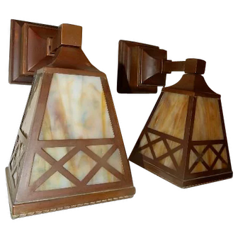 Simple Mission Style Arts and Crafts Sconces With Slag Glass Panel Shades