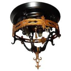 Spanish Revival Arts & Crafts Bronze & Wrought Iron Chandelier Ceiling Fixture