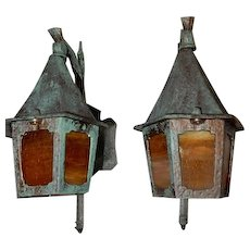 Spanish Revival Tudor Arts & Crafts Porch Lights with Amber Glass