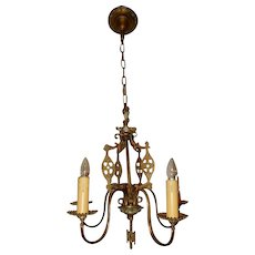 Cast Brass Spanish Revival Tudor Chandelier Cast Bronze Fixture Chandelier
