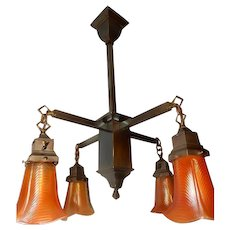 Arts & Crafts Mission Brass Chandelier w Old Northwood Carnival Art Glass Shades