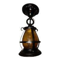 Cast Iron Arts & Crafts Porch Light with Black Finish and Textured Glass