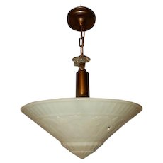 Large Custard Phoenix Glass Deco Shade on Old Bronze Finish Fixture
