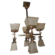Mission Arts and Crafts Gas & Electric Combination Brass Chandelier Etched Shades