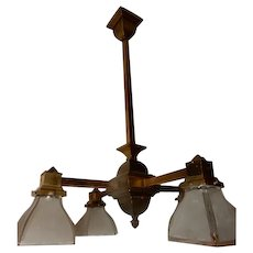 Arts & Crafts Mission Brass Pendant Chandelier w Old Frosted Panel Shades