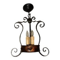 Spanish Revival Arts & Crafts Wrought Iron Chandelier Ceiling Pendant Fixture