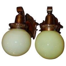 Pr. Large Cast Bronze Art Nouveau Sconces W/ Vaseline Opalescent Shades