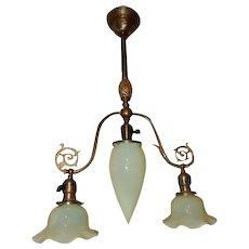Brass Fixture Chandelier with Vaseline Opalescent Shades----Gas Era