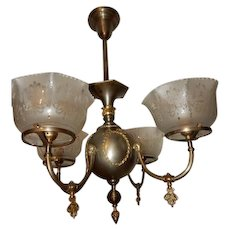 Large Brass Gas Chandelier Fixture Bronze Finish Etched Shades