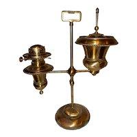 Decorated B & H Kerosene Oil Brass Parlor Student Lamp--P & A Burner