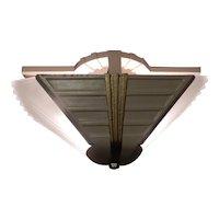 1930s Art Deco 2-Light Slip Shade Chandelier Polychrome Finish