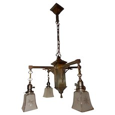 Arts & Crafts Mission Brass Pendant Chandelier w Old Cut Star Panel Shades