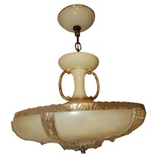Deco Embossed Lighting Bowl w Decorated Porcelain Porcelier Fixture