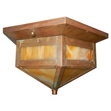 Arts & Crafts Copper with Slag Glass Porch Light