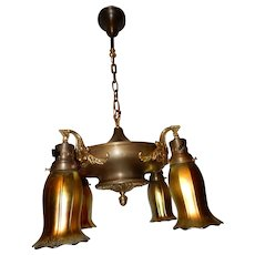 Art Nouveau Brass Chandelier w Steuben Art Glass Shades